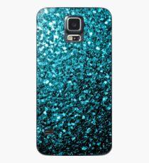 Wunderschönes Aqua Blue Glitter funkelt Hülle & Klebefolie für Samsung Galaxy