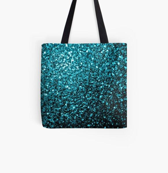 Beautiful Aqua blue glitter sparkles All Over Print Tote Bag