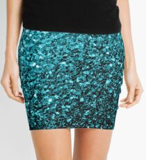 Beautiful Aqua blue glitter sparkles Mini Skirt