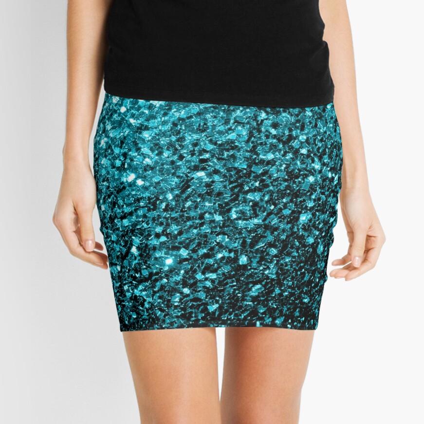 Beautiful Aqua blue glitter sparkles Mini Skirt