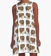 Elephants on a white background A-Line Dress