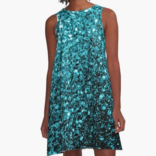 Beautiful Aqua blue glitter sparkles A-Line Dress