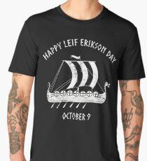 Happy Leif Erikson Day October 9 Viking Long Ship Men's Premium T-Shirt