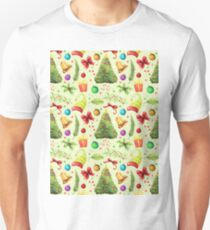 Vintage green red colorful festive Merry Christmas floral  T-Shirt