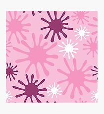 Pink, Purple and White Paint Spots Photographic Print