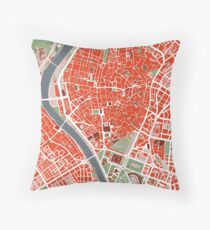 Seville city map classic Throw Pillow