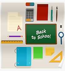 School Supplies Pattern - Back to School Time Poster