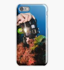 Scuba diver underwater photography in the Mediterranean seabed  iPhone Case/Skin