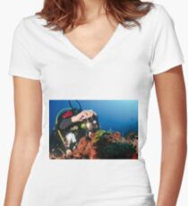 Scuba diver underwater photography in the Mediterranean seabed  Women's Fitted V-Neck T-Shirt
