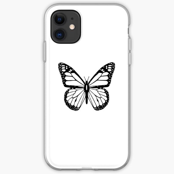 Butterfly, Black and White Butterfly. iPhone Soft Case