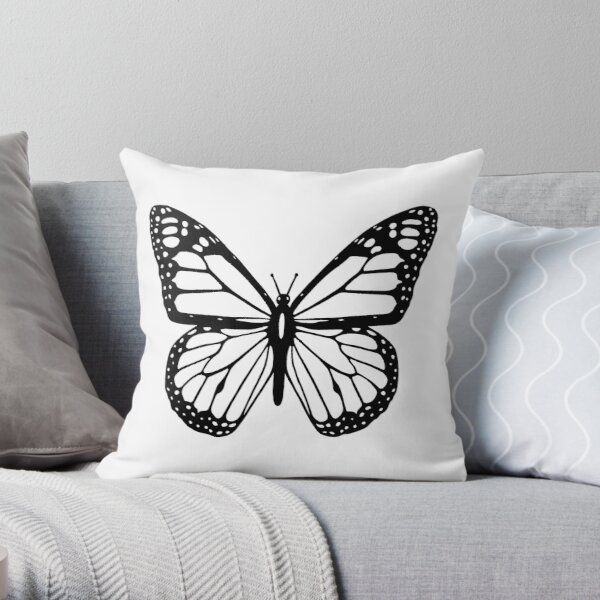Butterfly, Black and White Butterfly. Throw Pillow