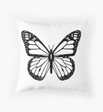 Butterfly, Black and White Butterfly Throw Pillow
