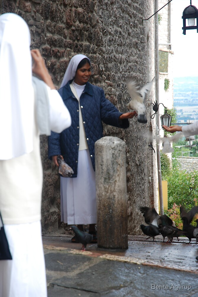Nun with pigeon by Bente Agerup