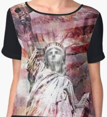 Modern-Art STATUE OF LIBERTY | red Women's Chiffon Top