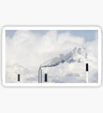 Smoke coming out of the factory pipes clouds Sticker