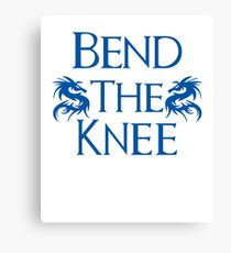 Bend The Knee Two Dragon Blue design Game of Thrones fan Canvas Print