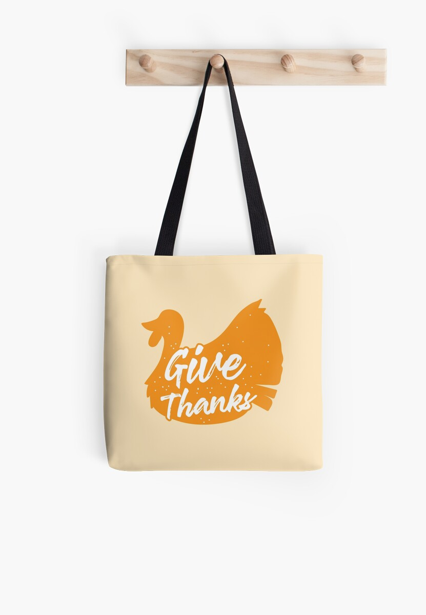 Give thanks (with orange turkey) Thanksgiving design by jazzydevil