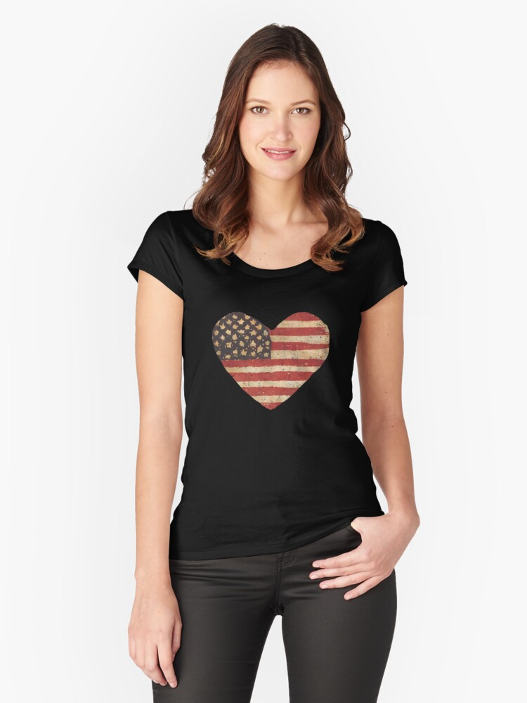 come together US Heart flag Women's Fitted Scoop T-Shirt Front