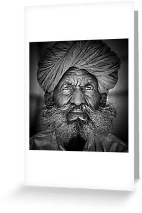 Old Rajasthani Man - Greeting Card by Glen Allison