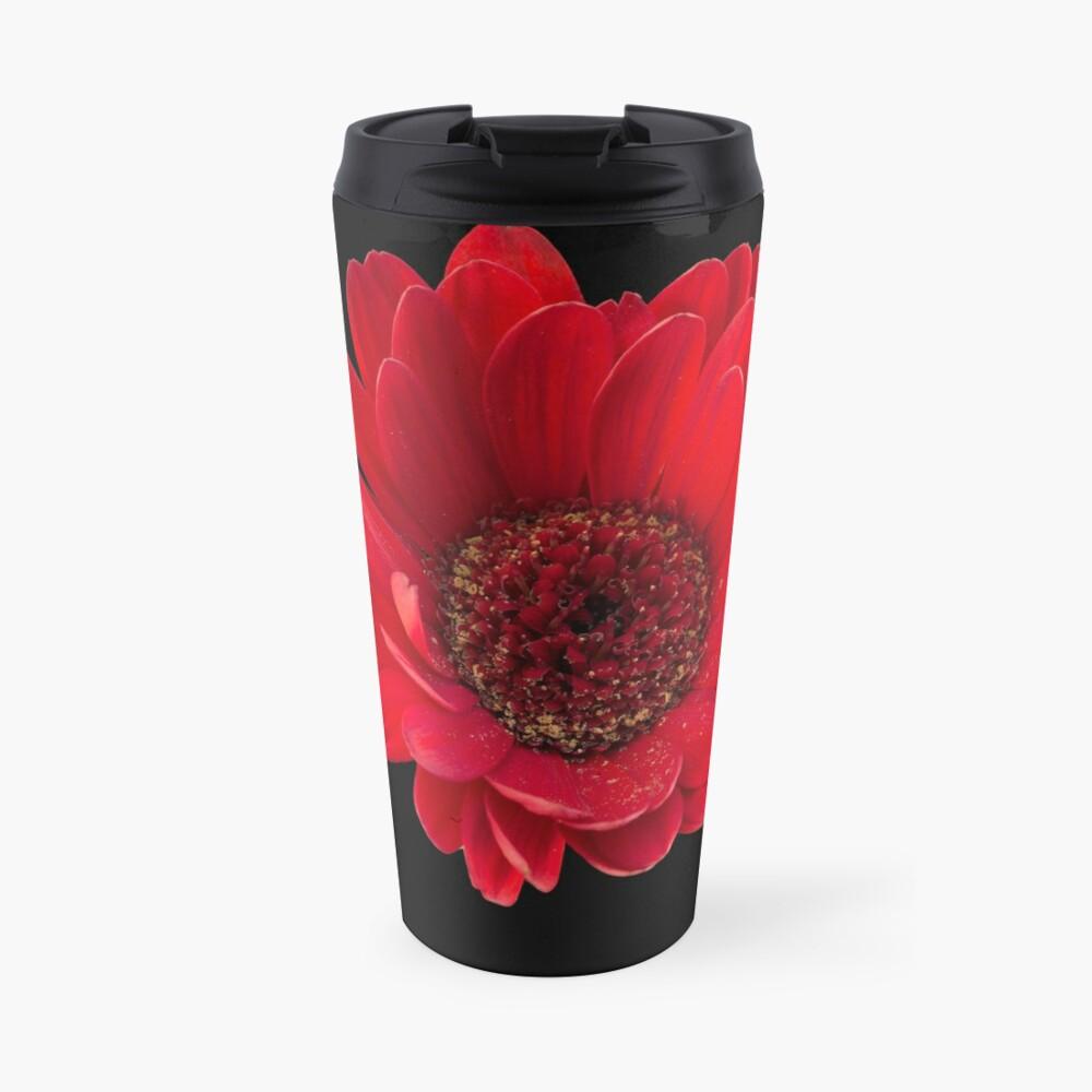 Close up photograph of a red gerbera flower Travel Mug