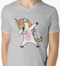 Dabbing Unicorn Shirt Hip Hop Dap Pose Men's V-Neck T-Shirt