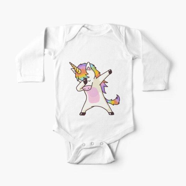 Dabbing Unicorn Shirt Hip Hop Dab Pose Long Sleeve Baby One-Piece