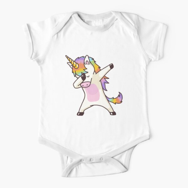 Dabbing Unicorn Shirt Hip Hop Dab Pose Short Sleeve Baby One-Piece