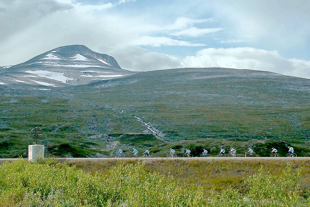 Bicyclists at the Polar Circle - Norway by Arie Koene