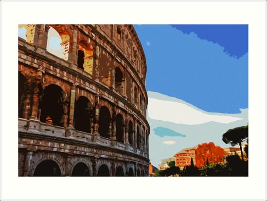 Romantic sunset on the Colosseum by Andrea Mazzocchetti