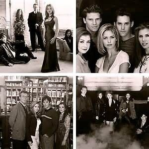 Buffy Cast Black & White Collage by mcannella22