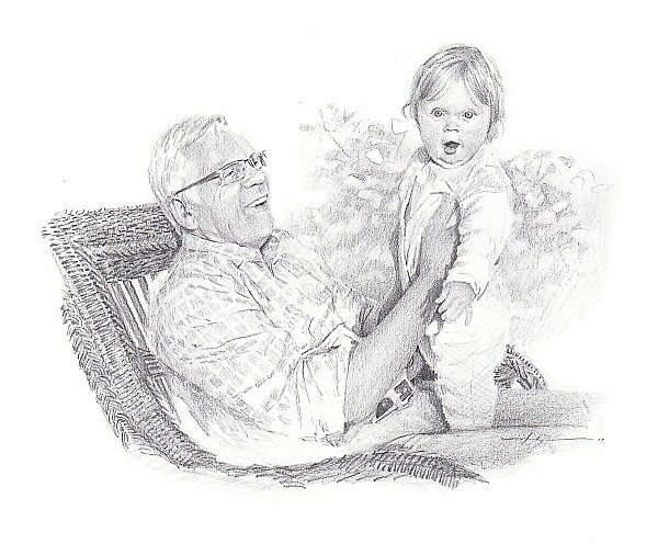 grandfather and granddaughter drawing by Mike Theuer