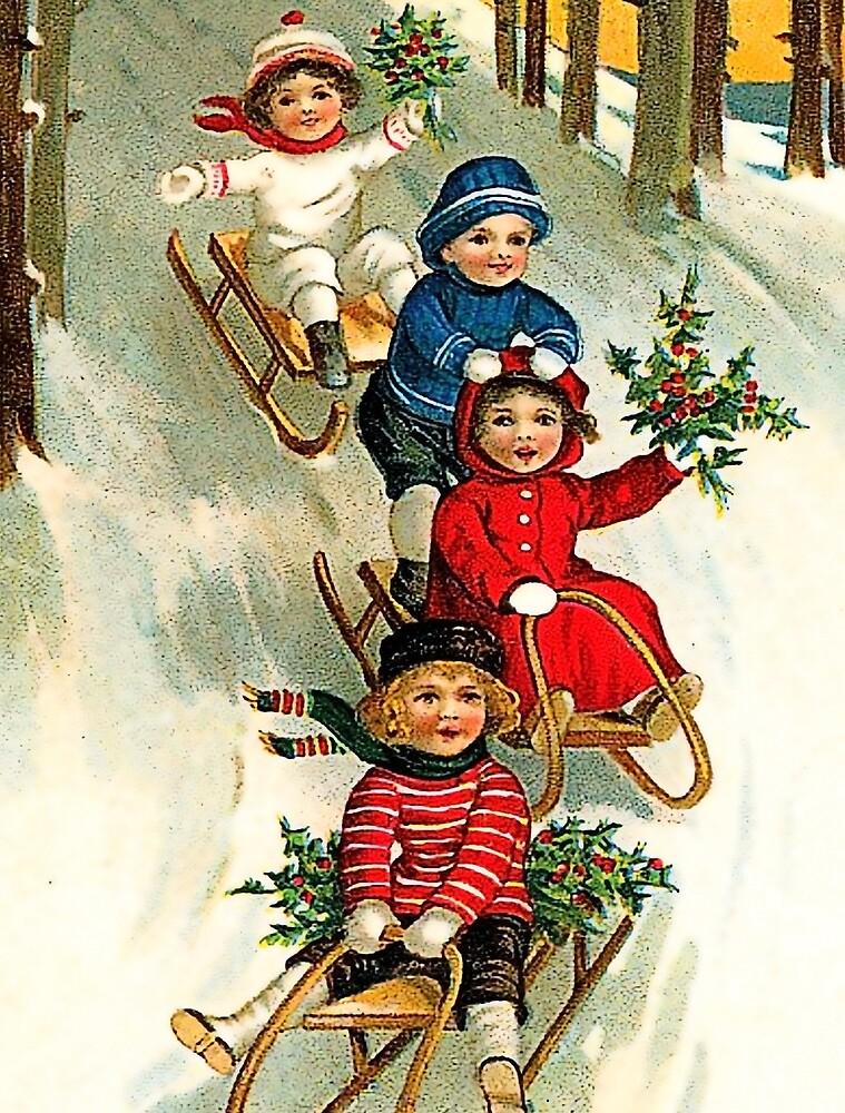 Happy snow sliding kids, vintage holiday greeting card by AmorOmniaVincit