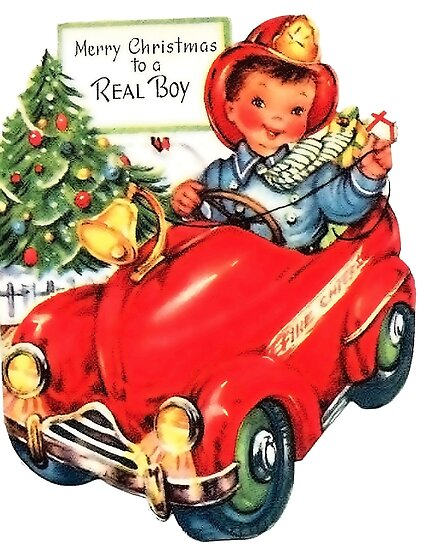 Merry Christmas from a little fireman, vintage holiday greeting card by AmorOmniaVincit