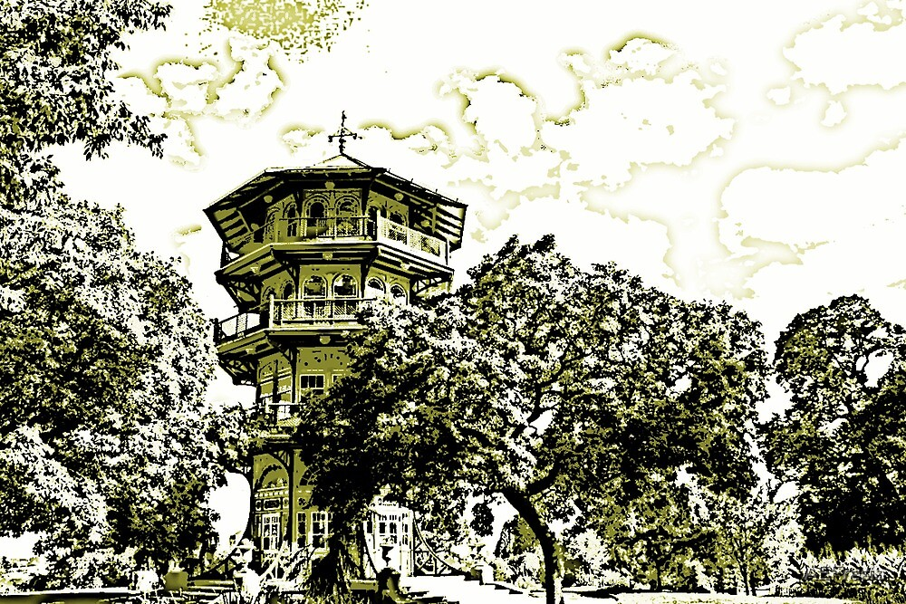 Patterson Park Pagoda in Gold by AEFresia