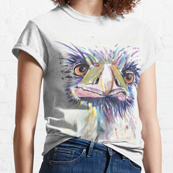 Emu or Ostrich Bird with funny eyes Classic T-Shirt