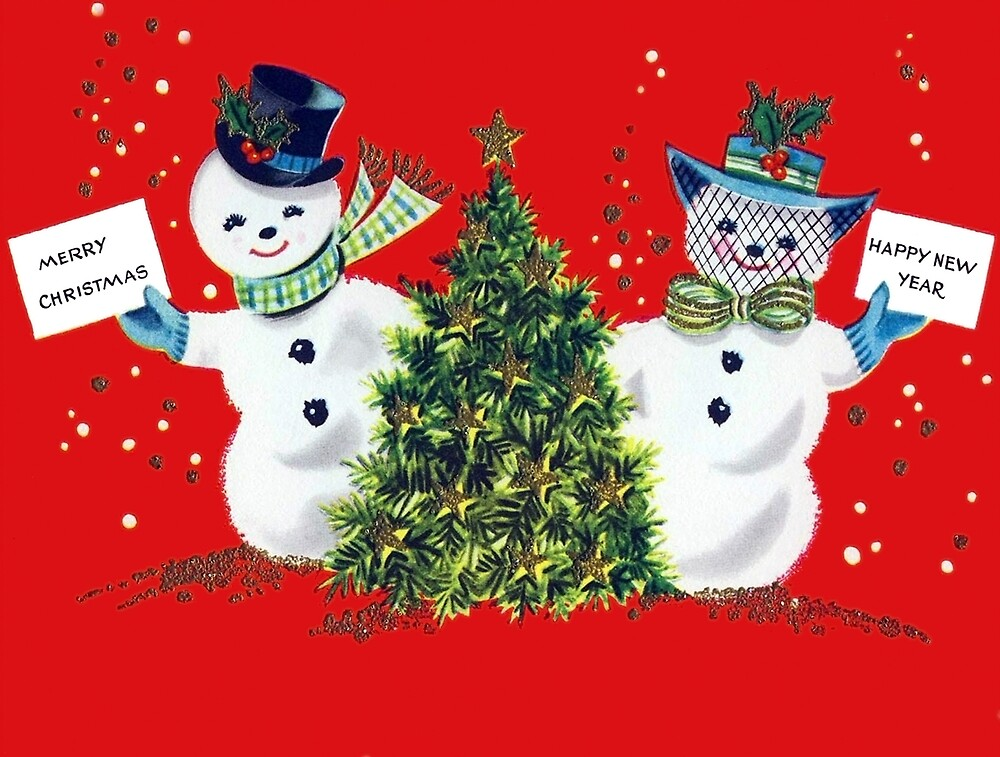 Merry Christmas and Happy New Year from snowmen couple by AmorOmniaVincit