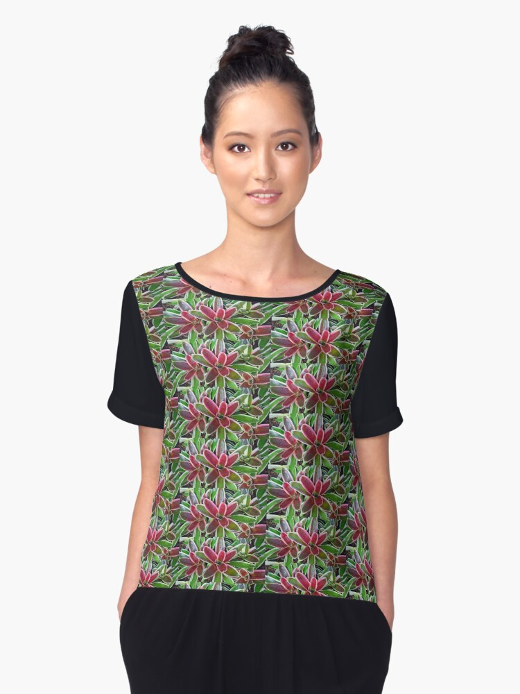 Variegated Vase Plant No. 2-1 Women's Chiffon Top Front