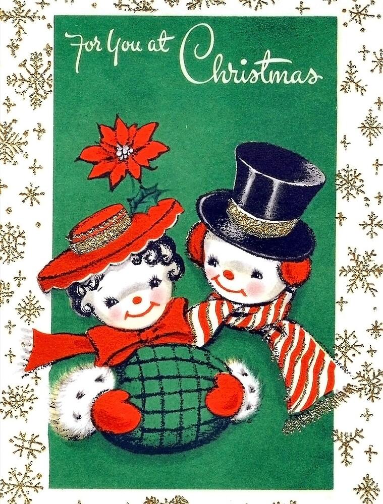 For You at Christmas, happy snowman couple greeting card by AmorOmniaVincit