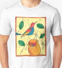 Colored bird and birdsnest - Charley Harper style T-Shirt