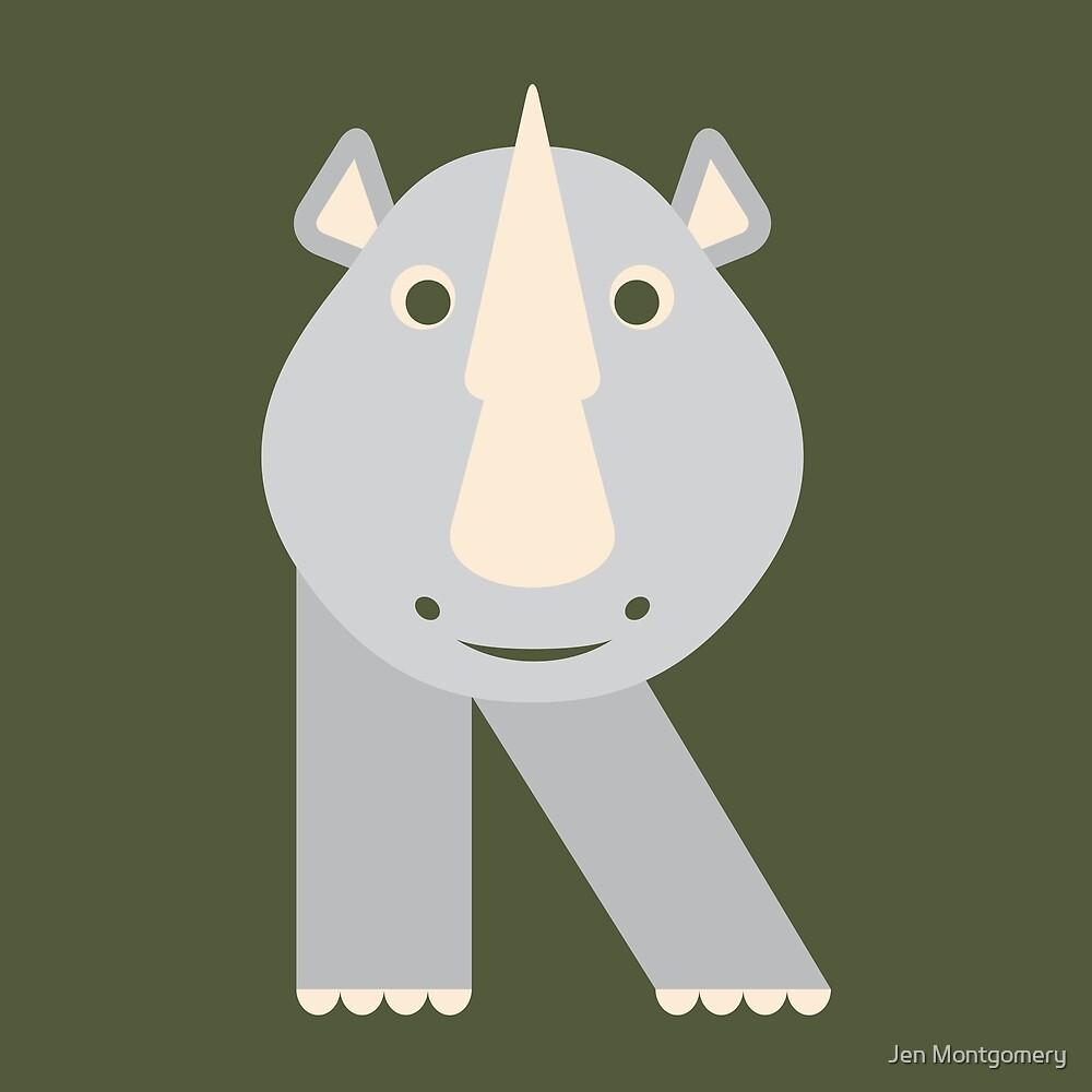 Letter R // Animal Alphabet // Rhino Monogram by Jen Montgomery