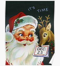 Santa Claus with a deer, vintage holiday greeting card Poster