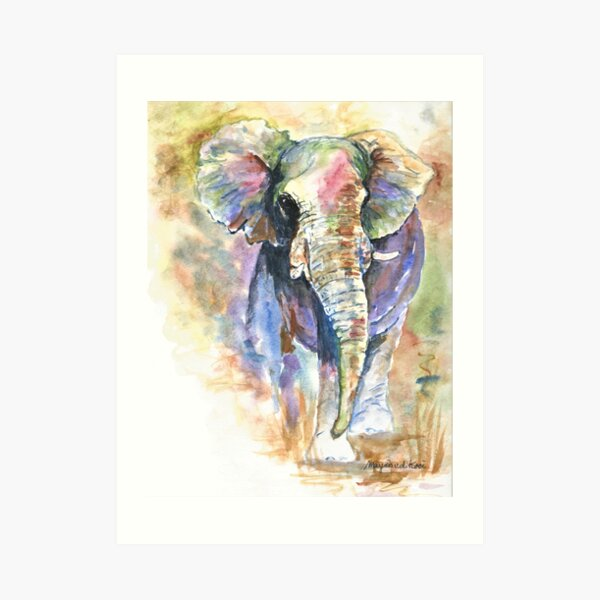 Elephant, African elephant in abstract colors Art Print