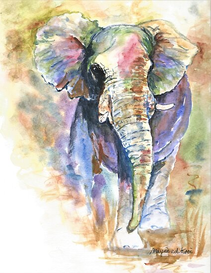 Elephant, African elephant in abstract colors by Marjansart