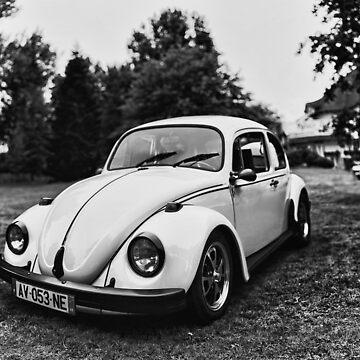 VW Beettle White - B&W by benbdprod