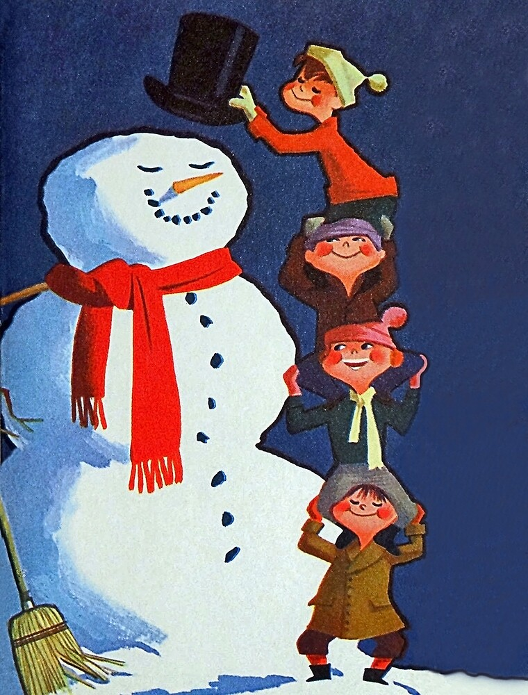Happy kids making a snowman, vintage holiday greeting card by AmorOmniaVincit