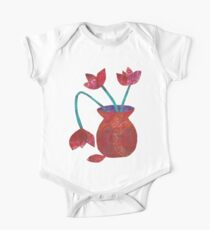 Red tulips in vase mixed media collage Kids Clothes