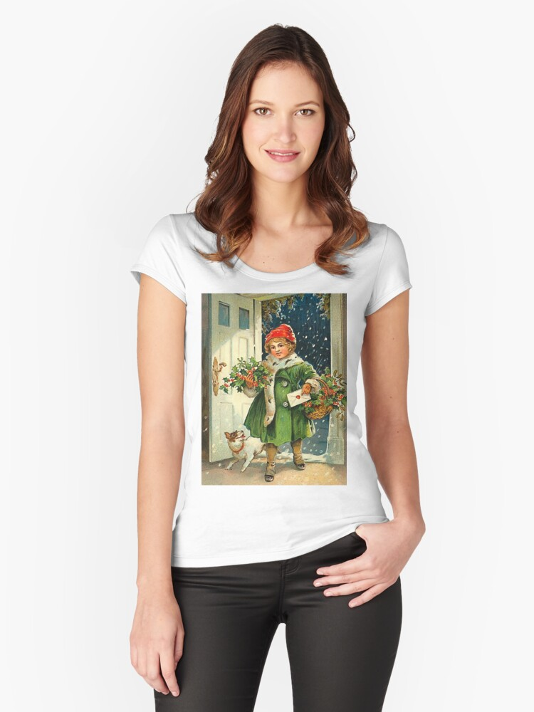 Little girl is bringing Christmas with her small dog Women's Fitted Scoop T-Shirt Front