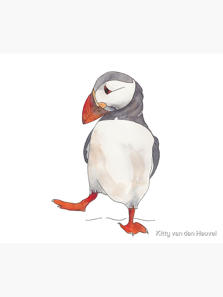 Dancing puffin watercolor illustration by kittyvdheuvel