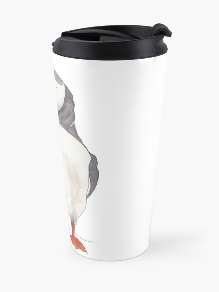 Alternate view of Dancing puffin watercolor illustration Travel Mug