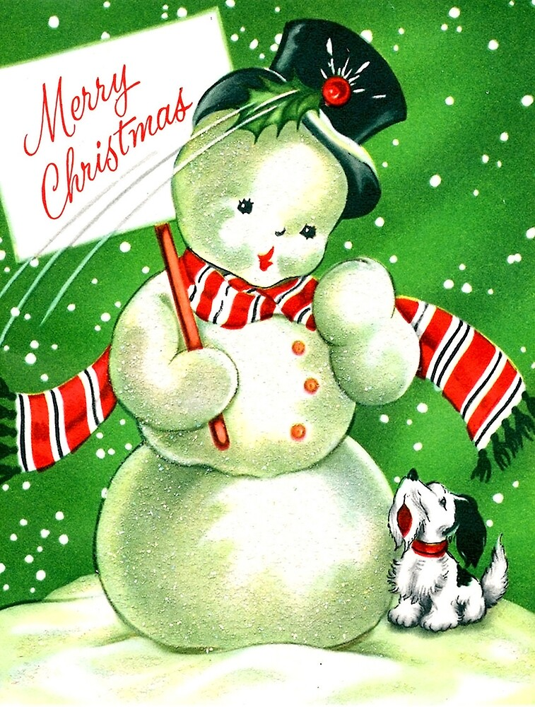 Merry Christmas, Snowman and a dog outside, vintage holiday card by AmorOmniaVincit